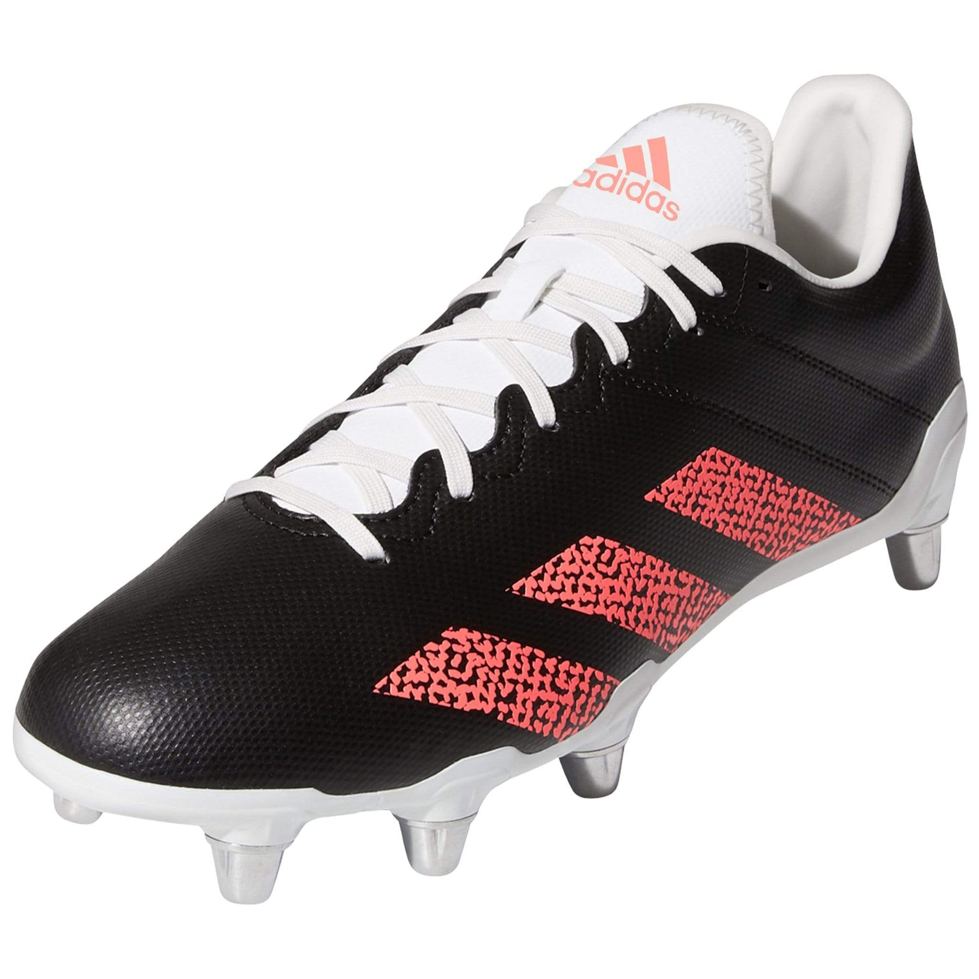 Front View Black Adidas Rugby Boots With Signal Pink Stripes
