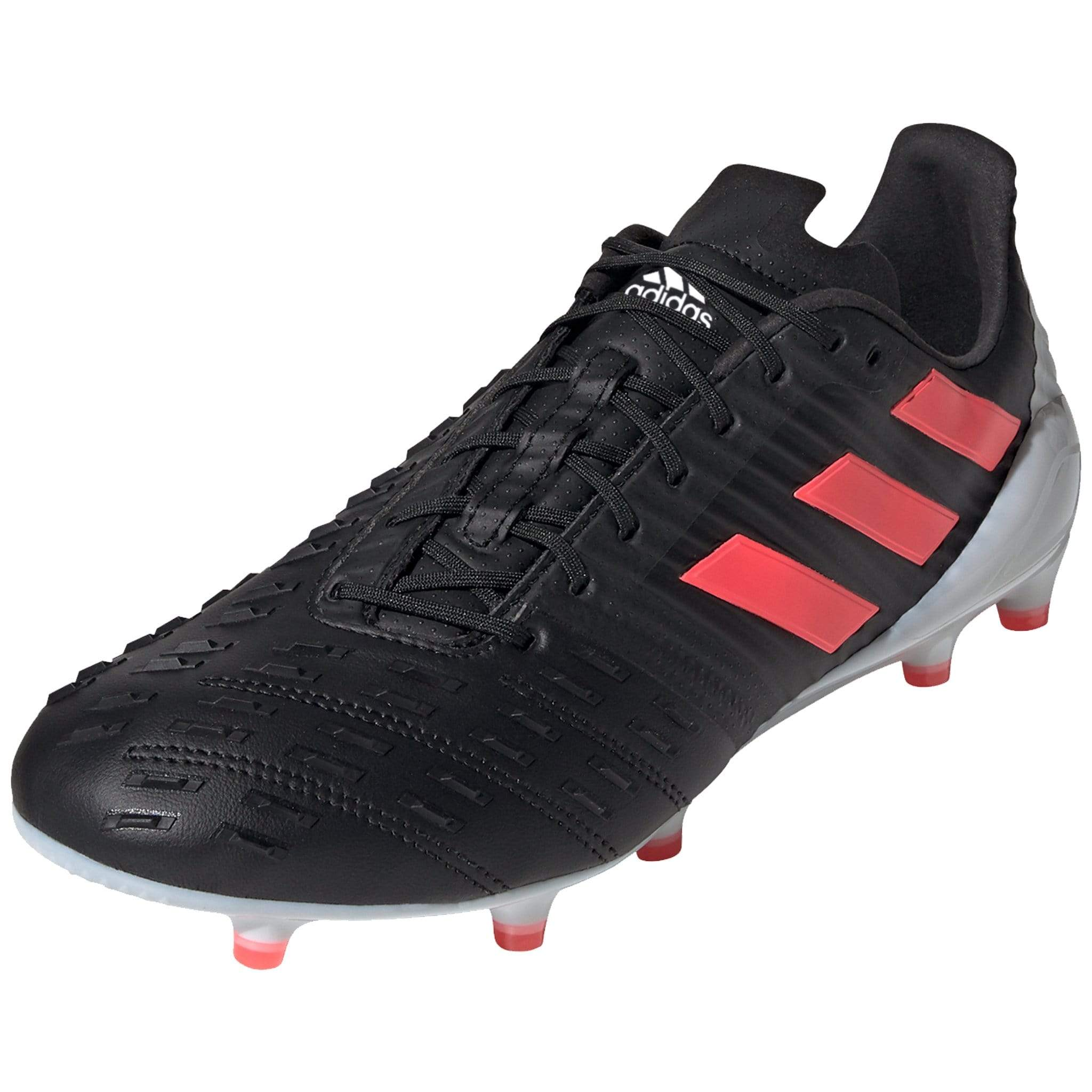 Overall View Black Adidas Rugby Boot With Black Laces and Pink Stripes