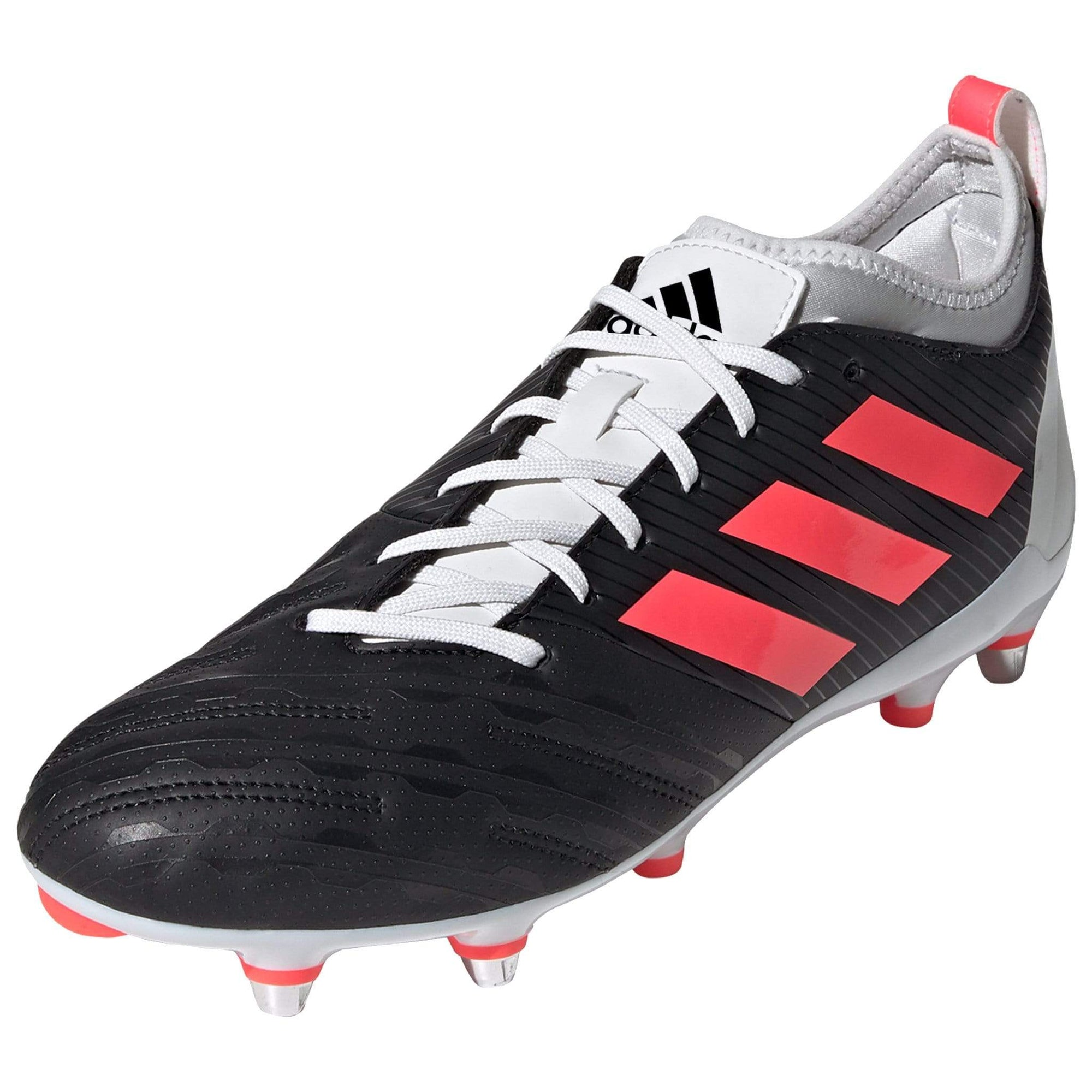 Black Adidas Rugby Boot With Signal Pink Stripes And White Laces