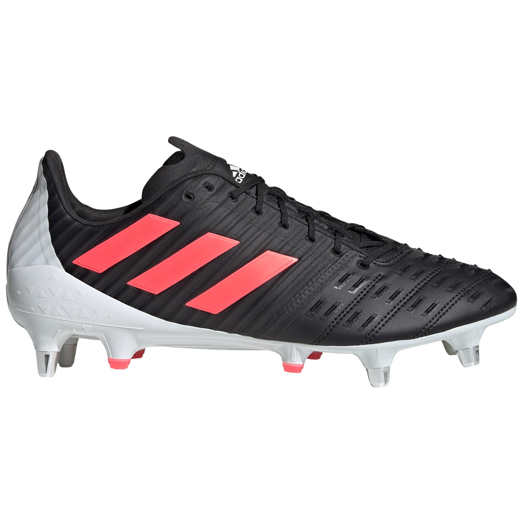 Side View Black Adidas Rugby Boot With Pink Stripes and White Back