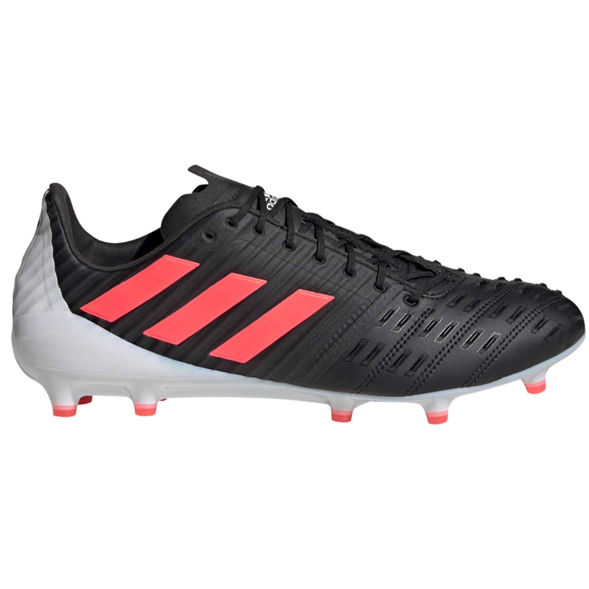 Side View Black Adidas Rugby Boot with Pink Stripes