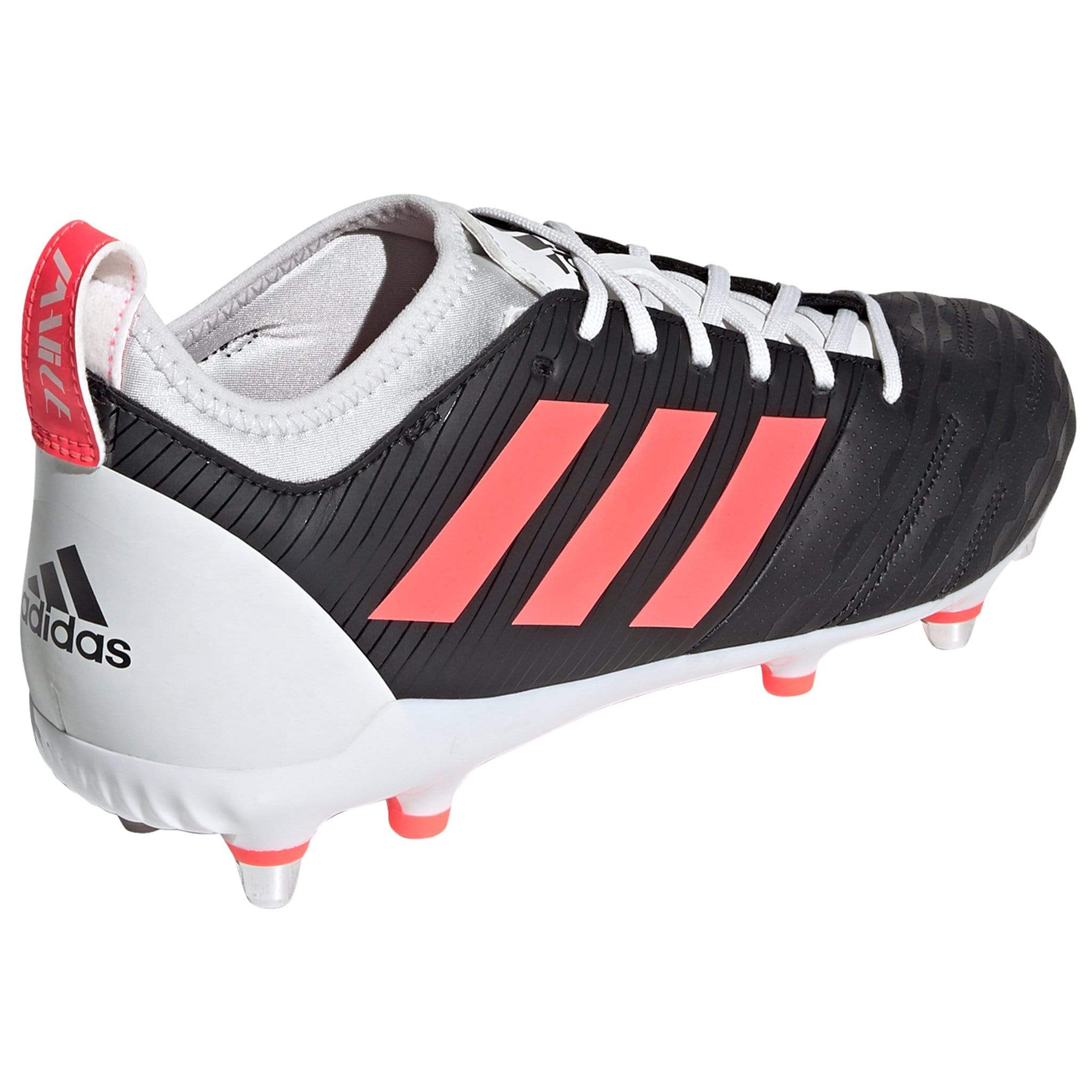 Back of Rugby Boot is White With Black Adidas Logo