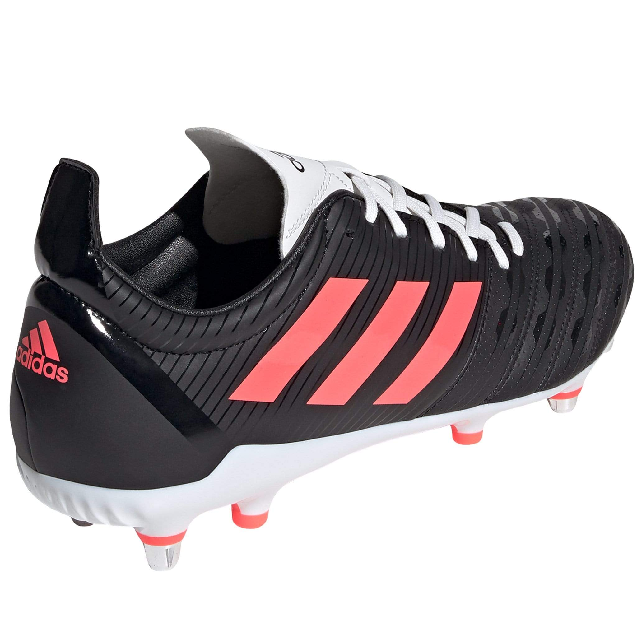 Side View Black Adidas Rugby Boot Pink Stripes White Laces