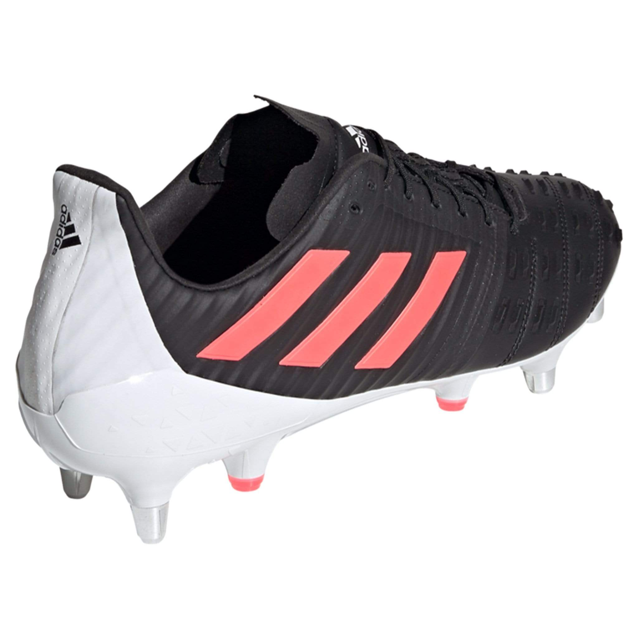 Side View Adidas Rugby Boot Black With Pink Stripes And White Back