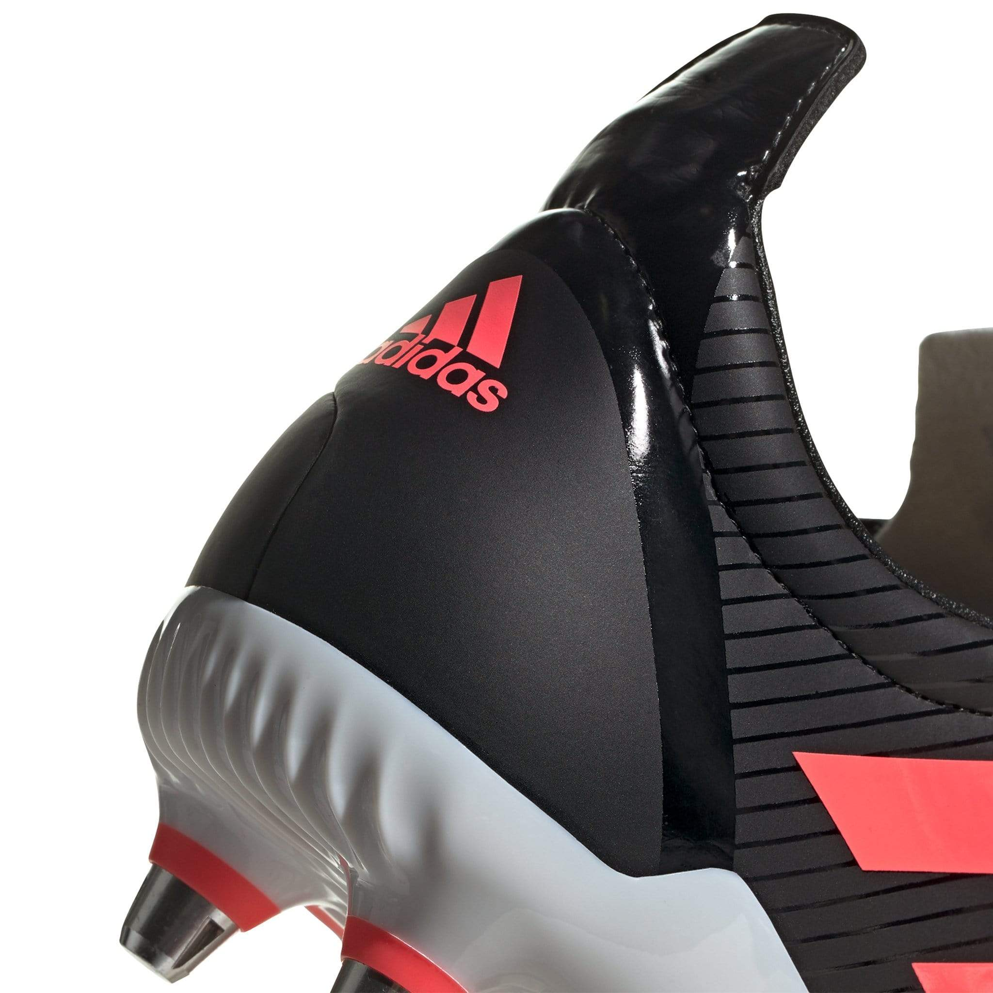Close Up of Back of Black Rugby Boot with Pink Adidas Logo