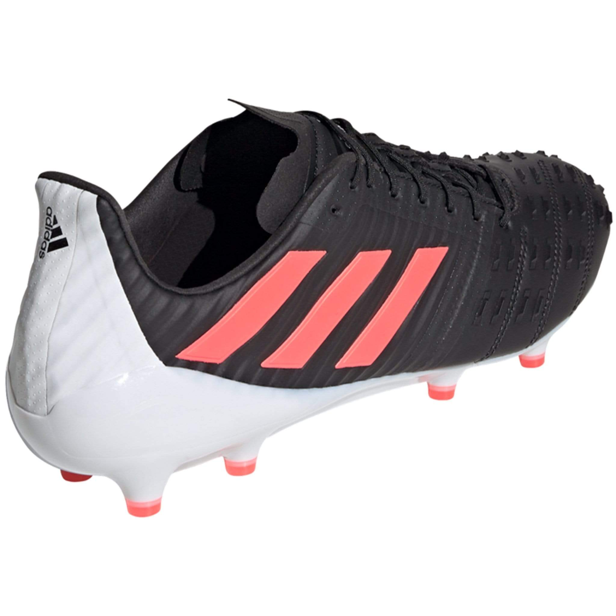 White Back of Rugby Shoe with Black Adidas Logo
