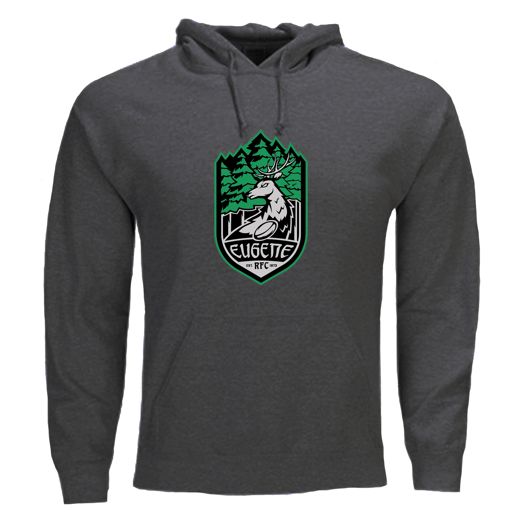 Eugene Stags Rugby Classic Hardcore Hoodie Grey