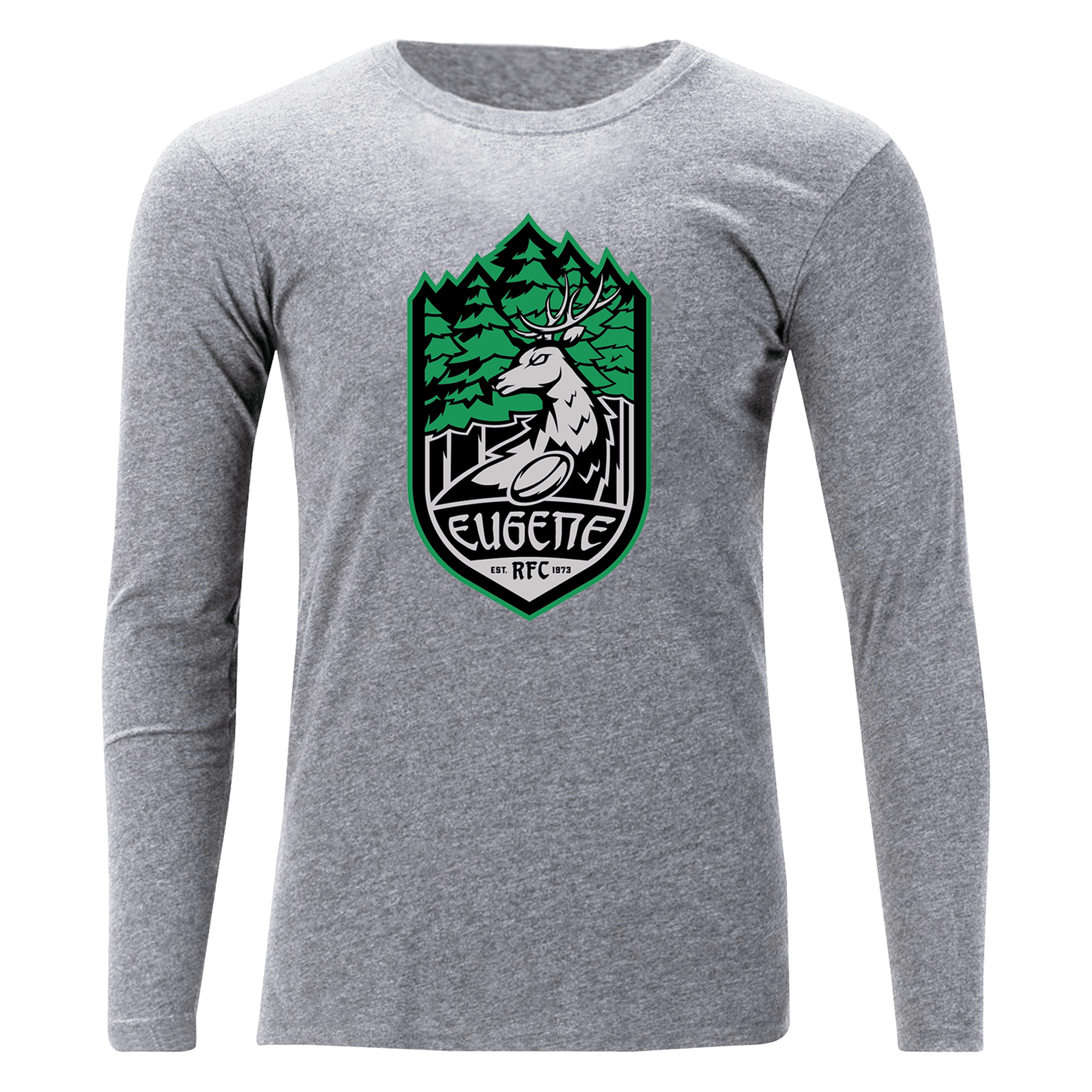 Eugene Stags Rugby RFC Off Field T-Shirt LS Grey