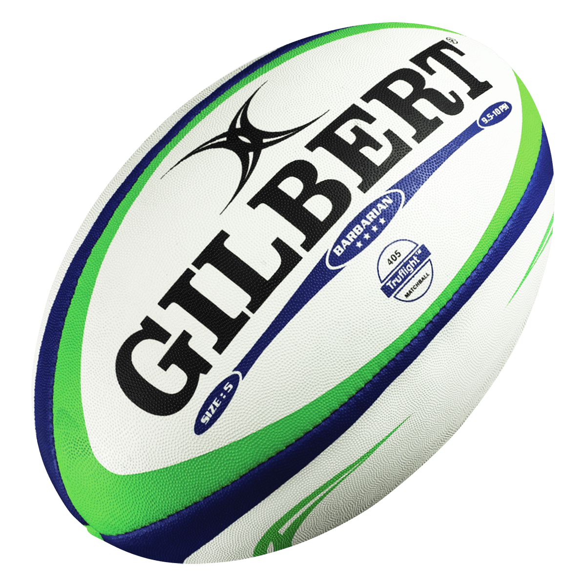 Gilbert Barbarian Match Rugby Ball White With Blue & Green and Black Gilbert