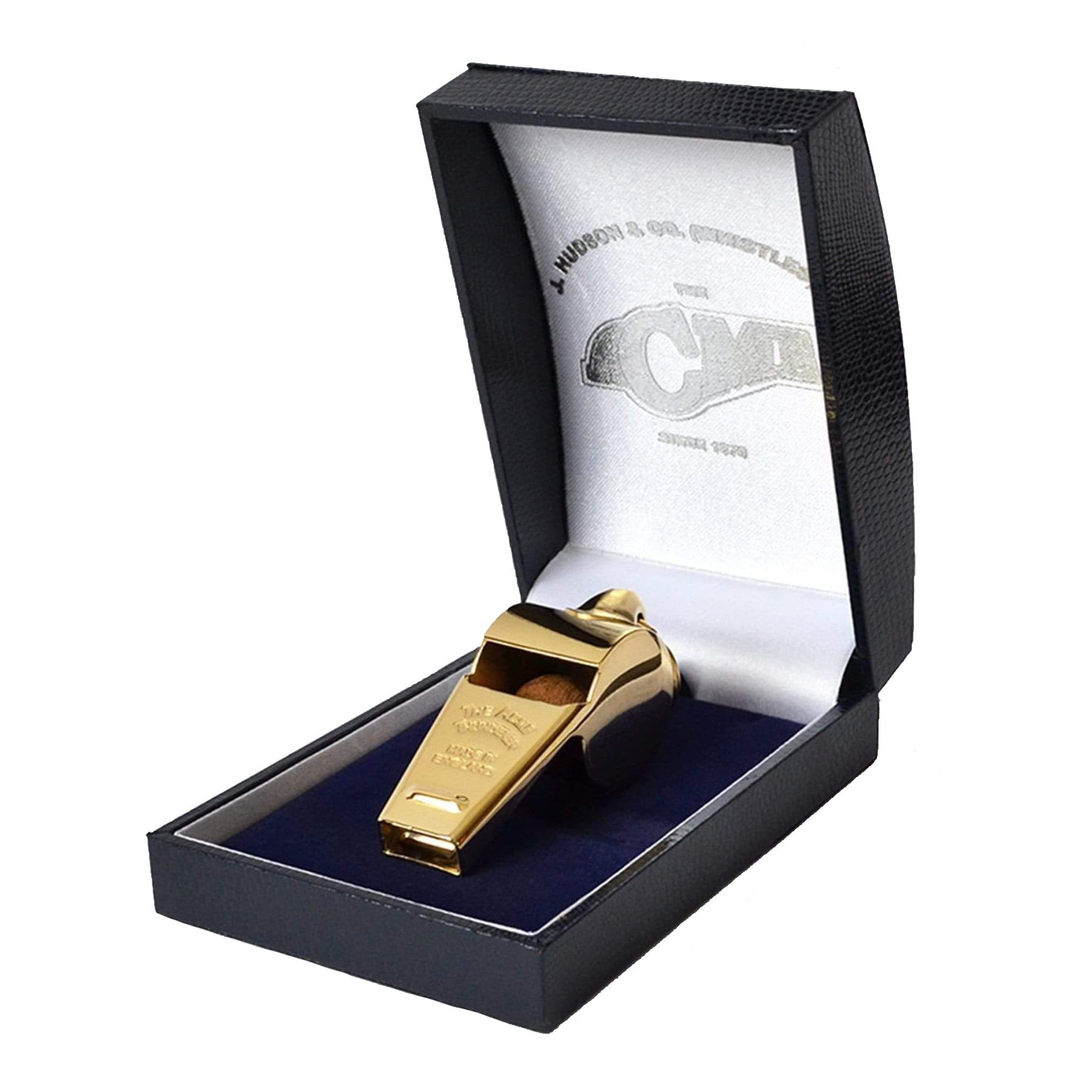 Gold Plated Rugby Referee Whistle in Satin Lined Box