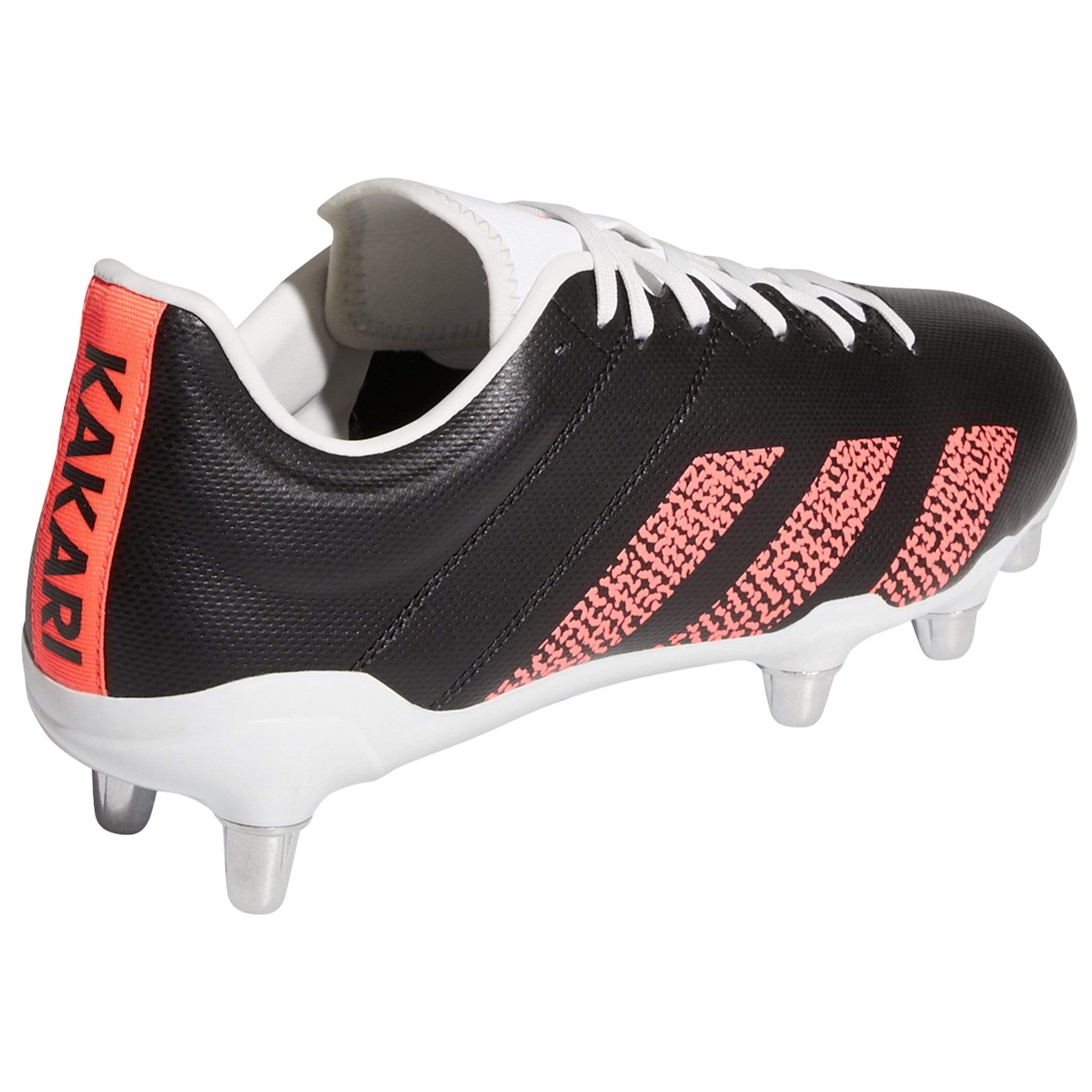 Alternate Side View Black Rugby Boot With Signal Pink Stripes