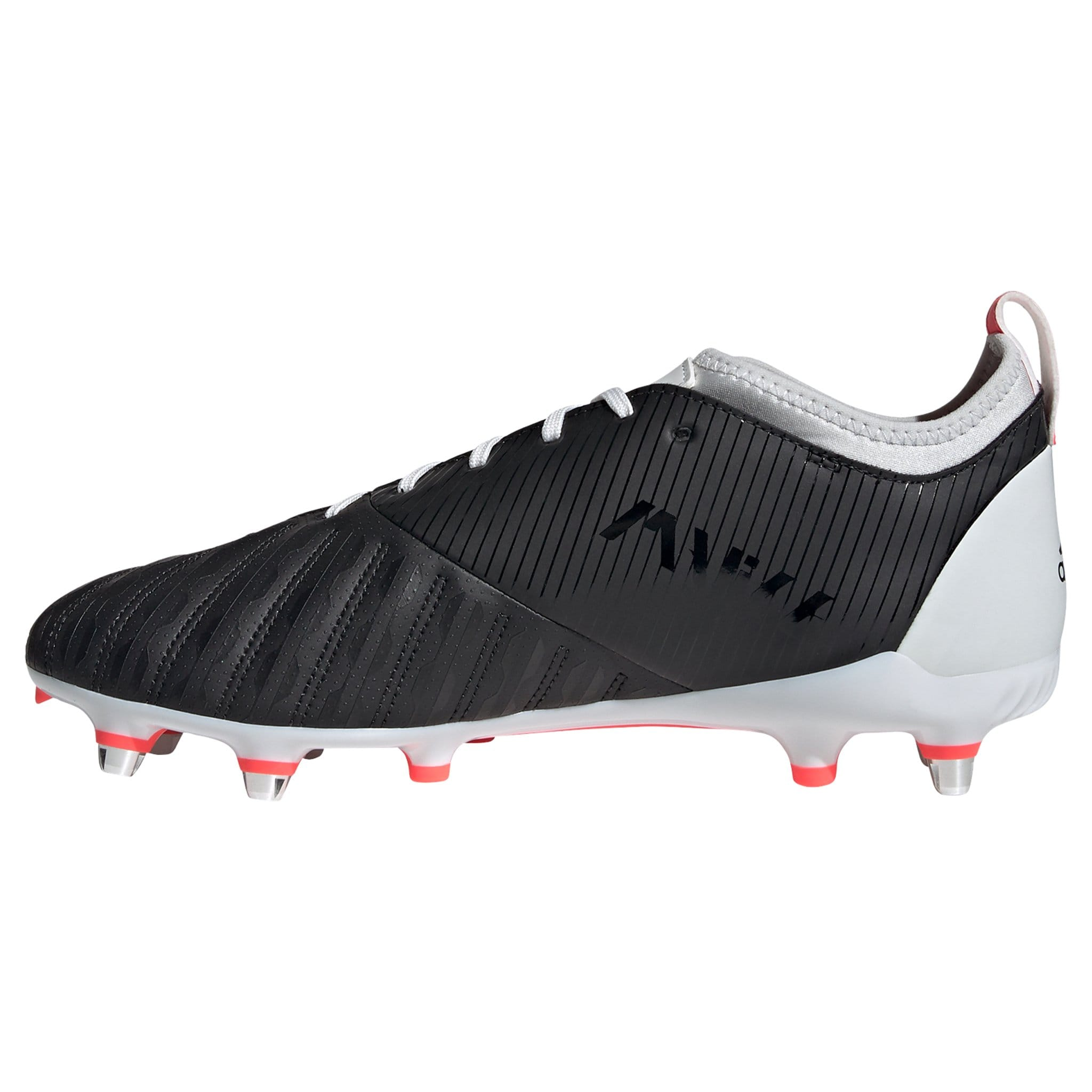 View of Inside of Foot Solid Black Rugby Boot White Laces