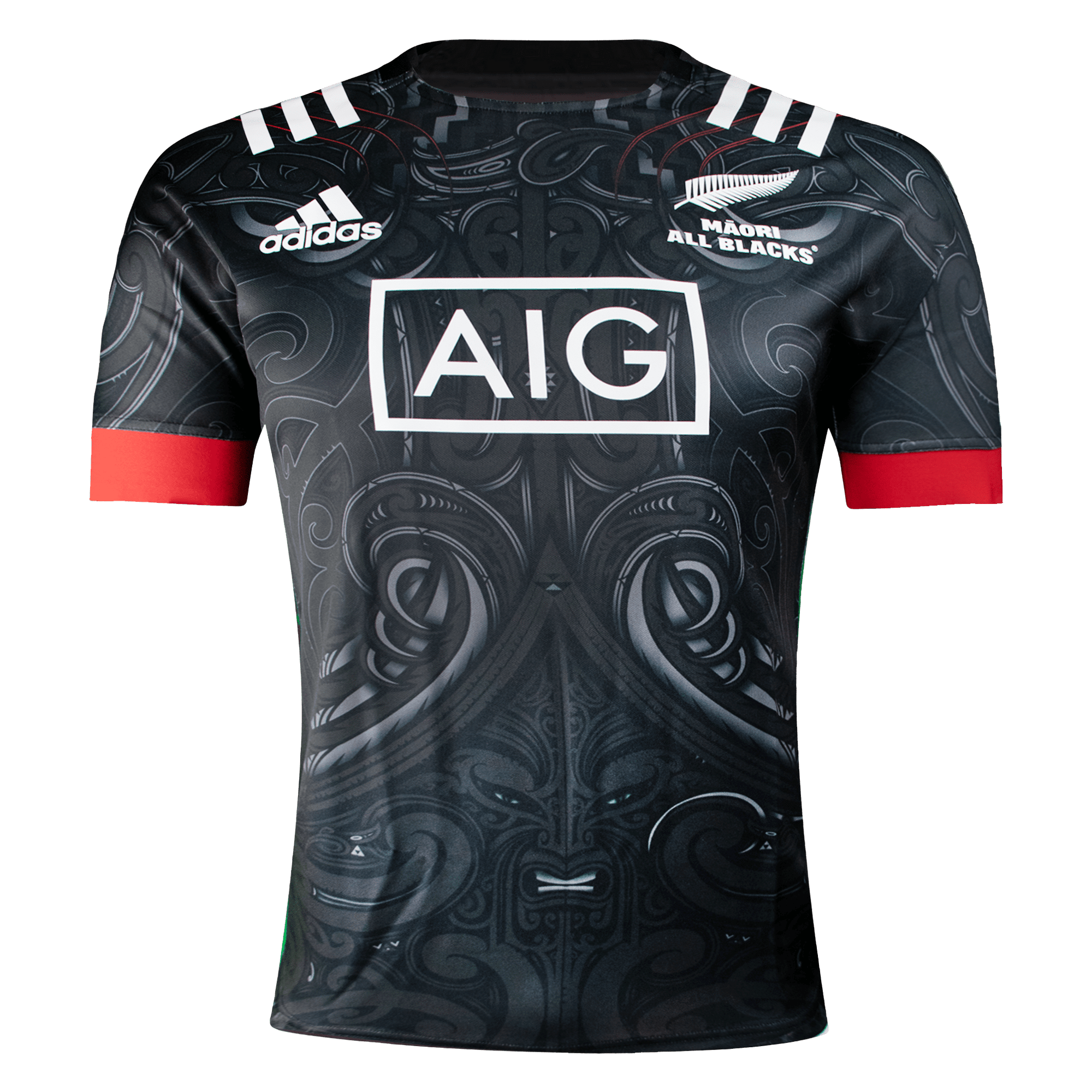 Adidas Māori All Blacks Rugby Jersey Front View