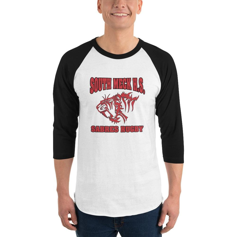 South Mecklenburg High School 3/4 Sleeve Raglan Shirt White & Black