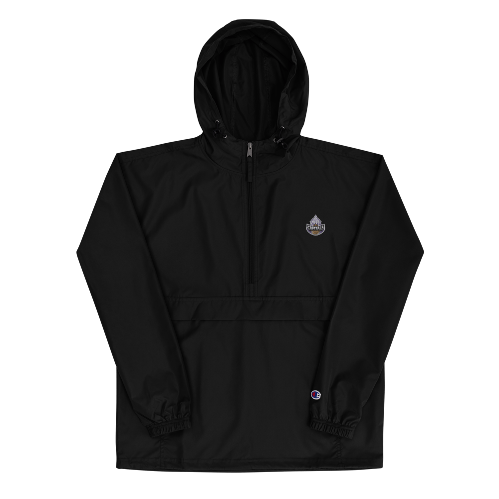 Capitals Rugby Embroidered Packable Jacket Black Front