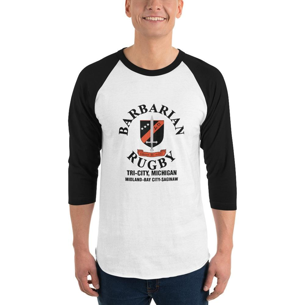 Tri City Barbarians 3/4 Sleeve Raglan Shirt White/Black