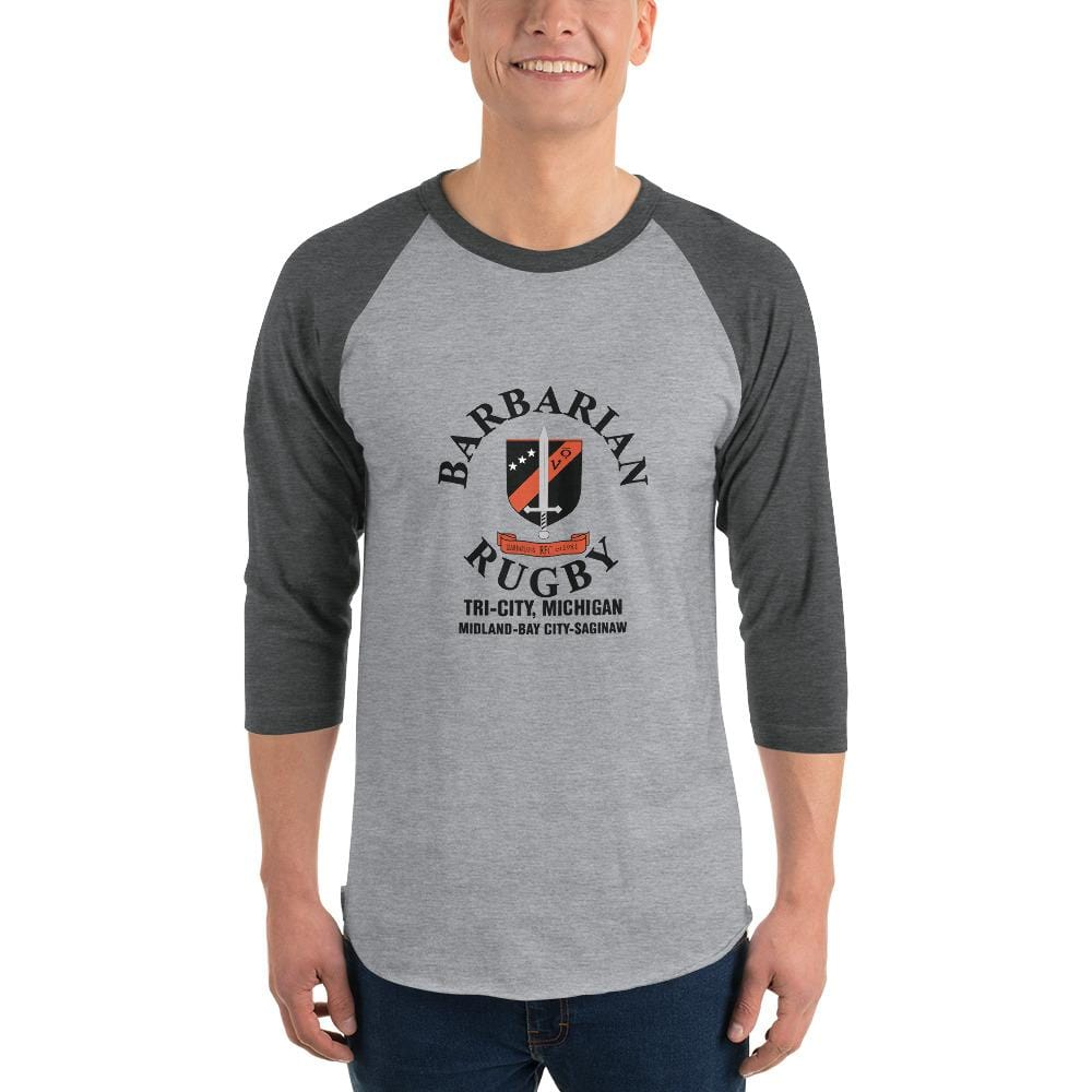 Tri City Barbarians 3/4 Sleeve Raglan Shirt Heather Grey/Heather Charcoal