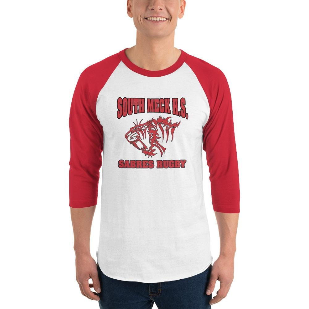 South Mecklenburg High School 3/4 Sleeve Raglan Shirt White & Red