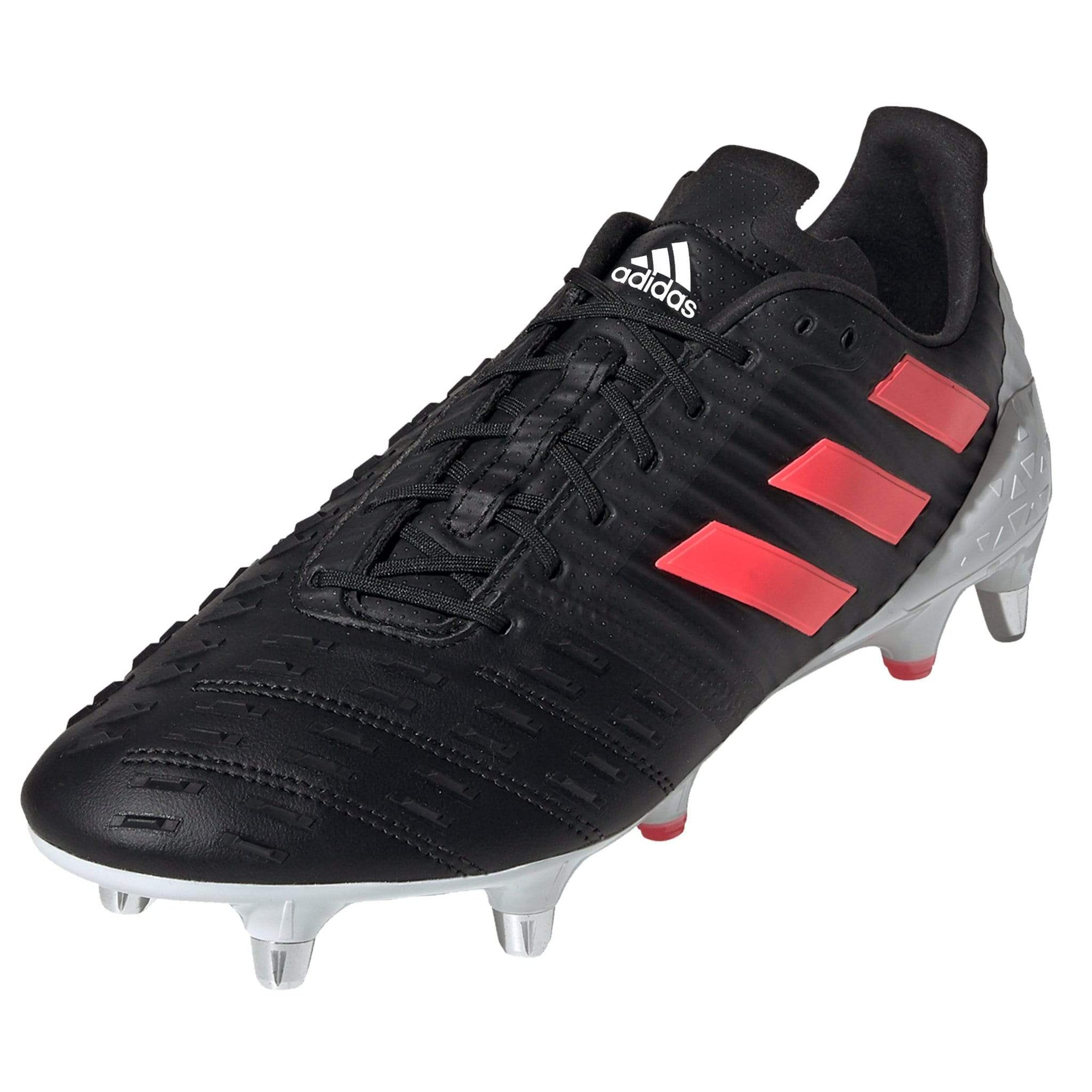 Front View Black Adidas Rugby Boot With Pink Stripes Black Laces