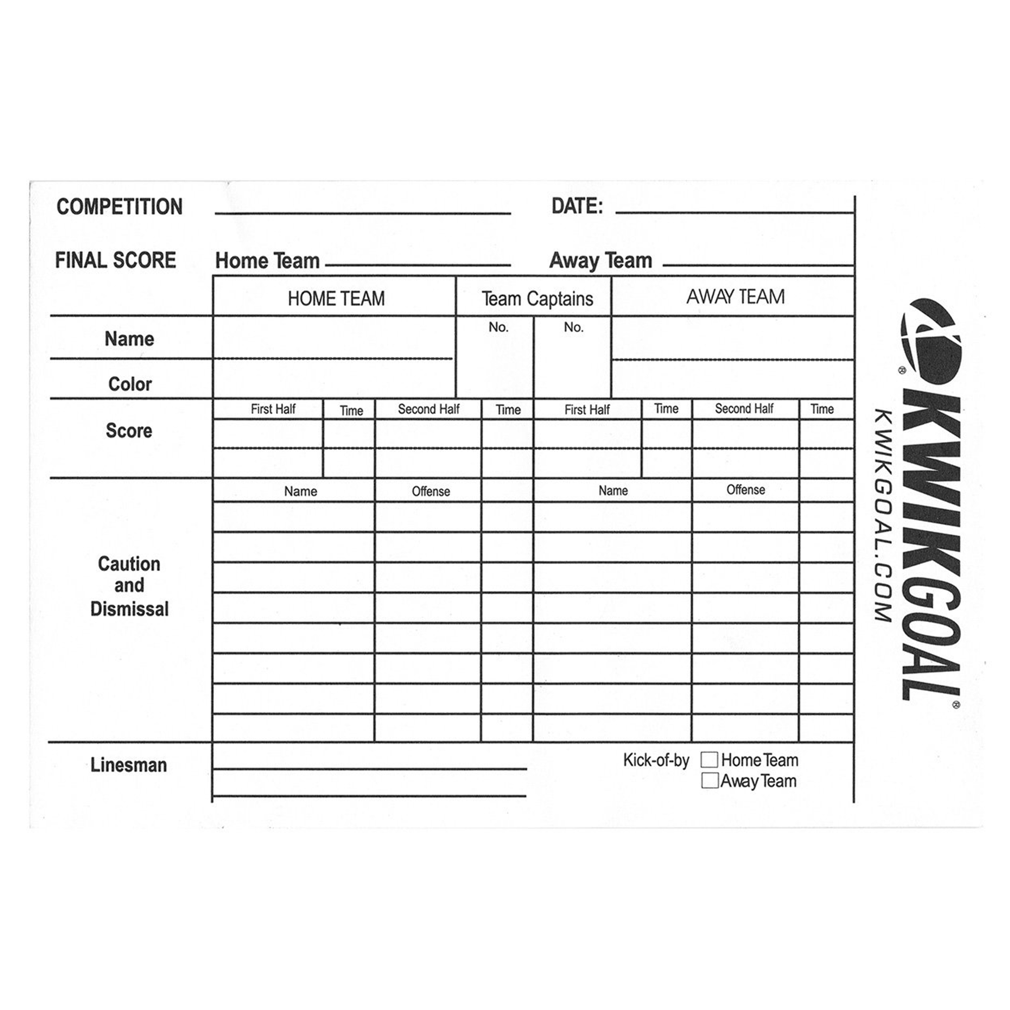 Rugby Referee Score Sheet