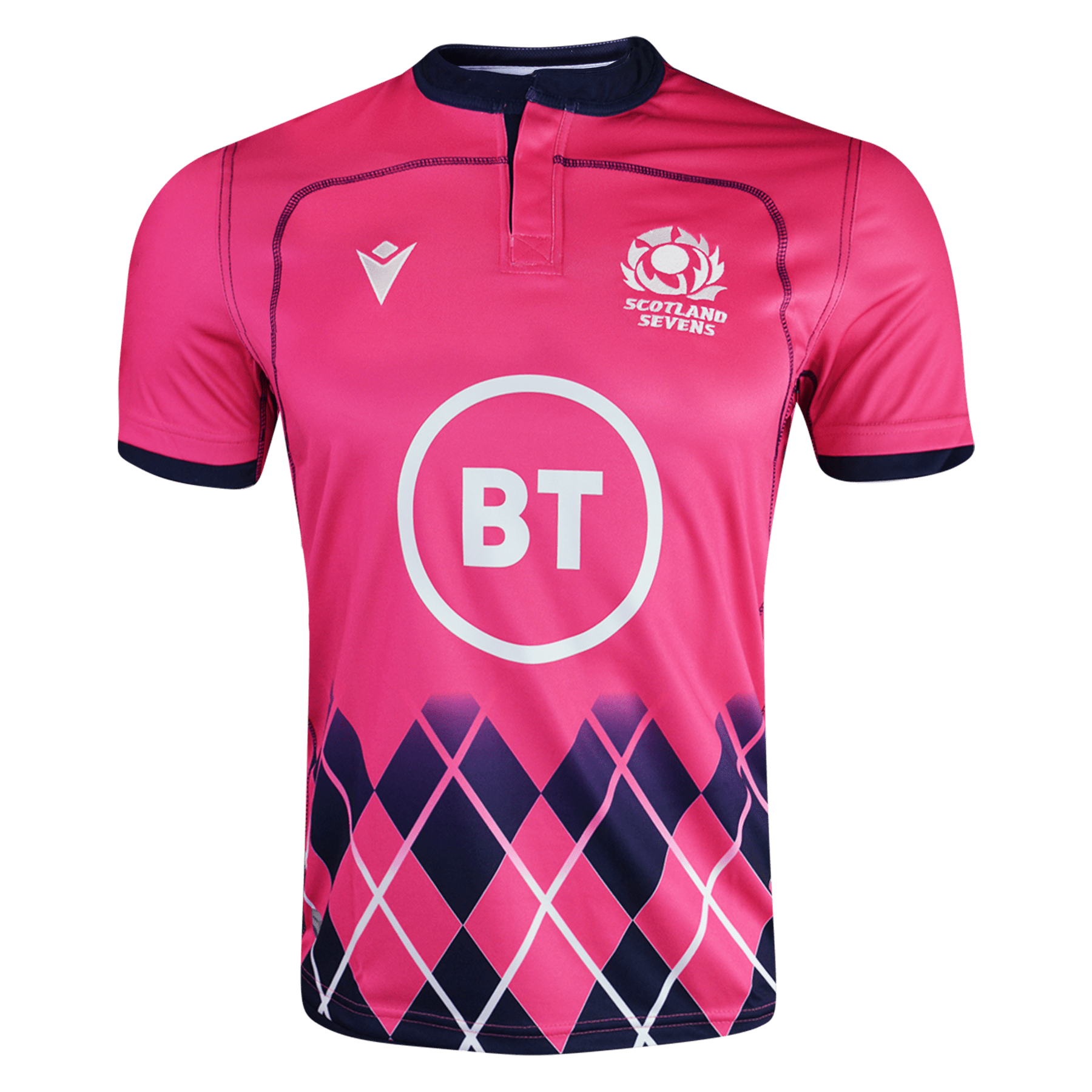Macron Scotland 21 Rugby 7's Away Jersey Raspberry Pink Front