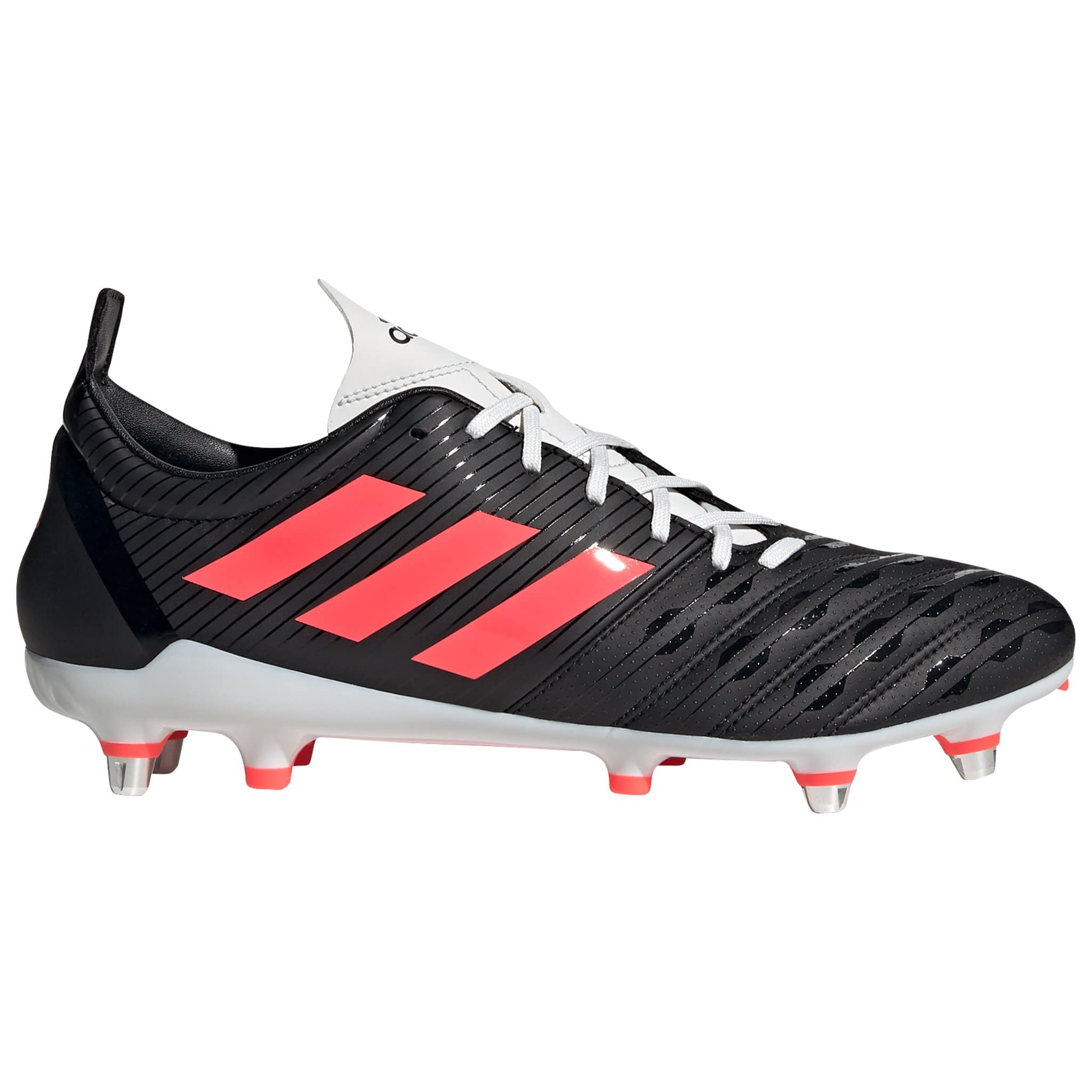 Side View Black Rugby Boot With Pink Stripes