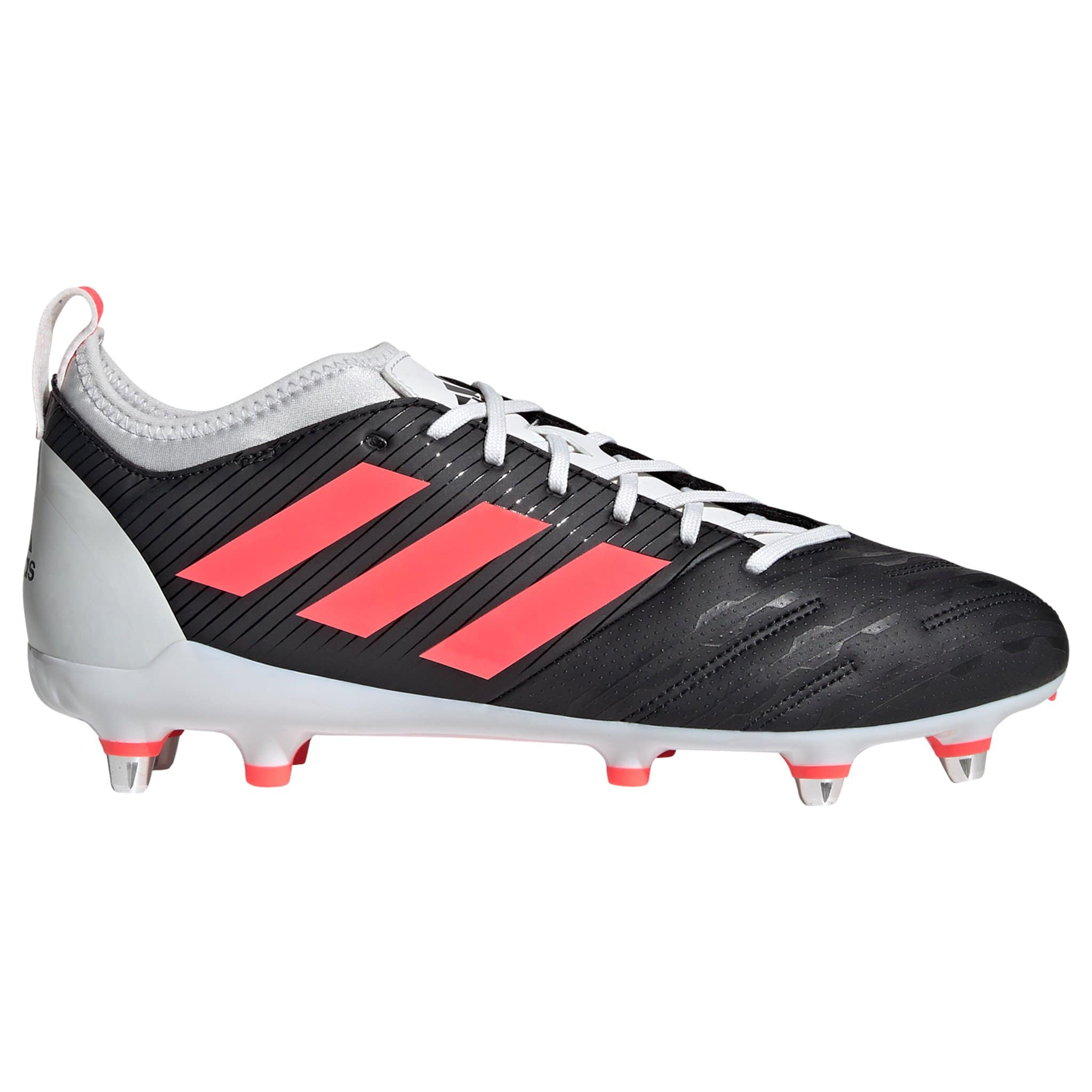 Side View Black Adidas Rugby Boot With Signal Pink Stripes