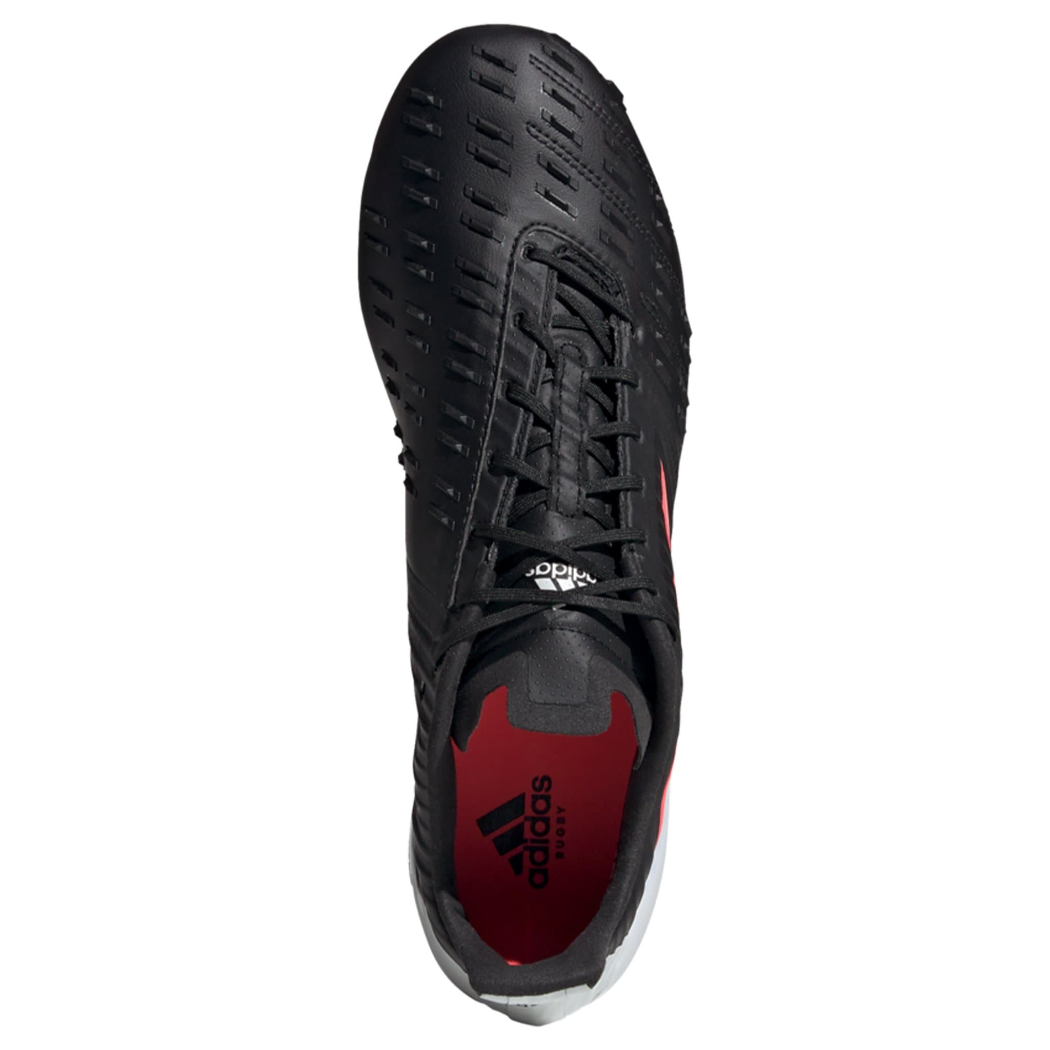 Overhead View Solid Black Adidas Rugby Boot with Pink Stripes