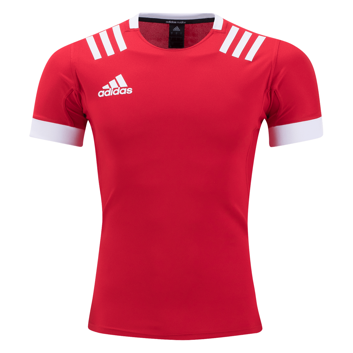 Red Adidas Rugby Jersey With White Stripes and Adidas Logo