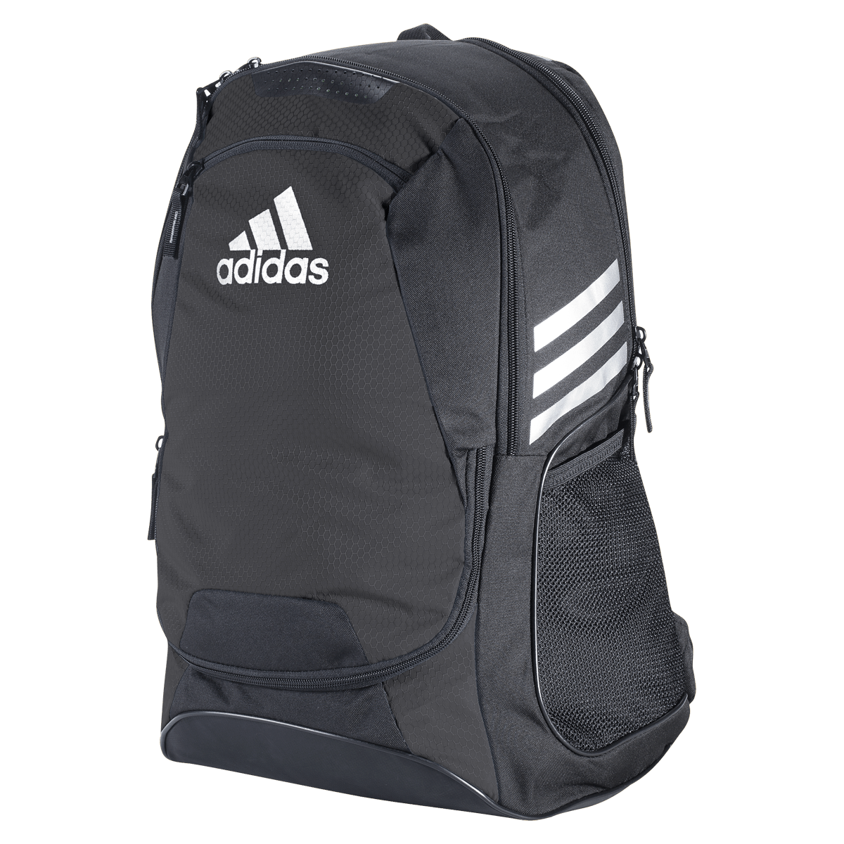 Black Adidas Rugby Backpack With White Logo and White Stripes