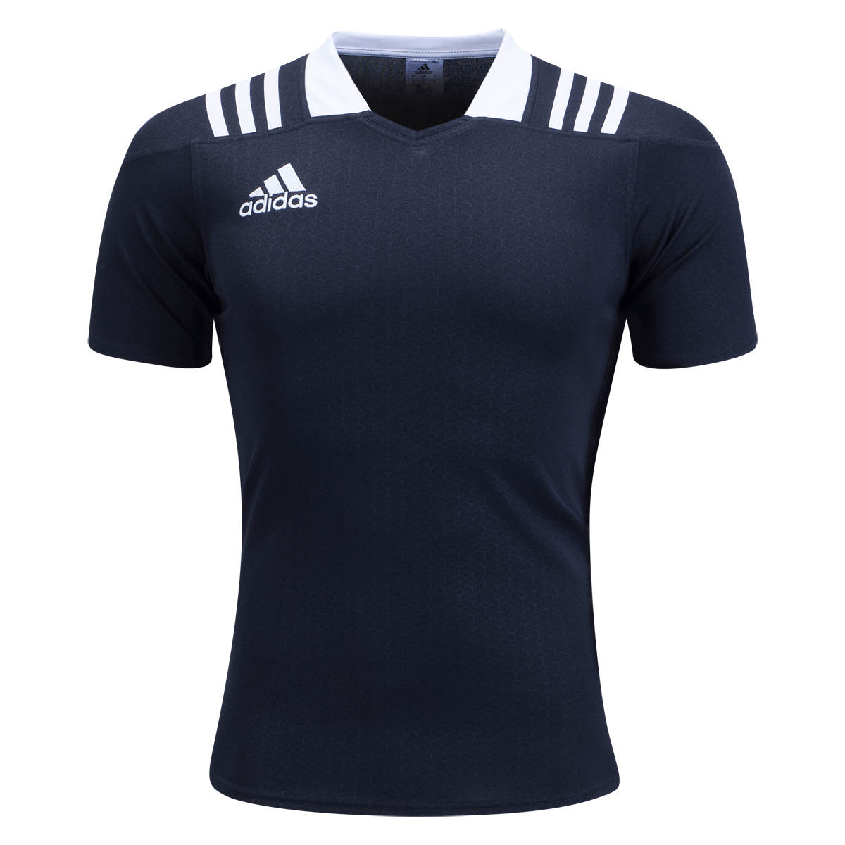 Front View of Adidas Black/White 3 Stripes Fitted Jersey