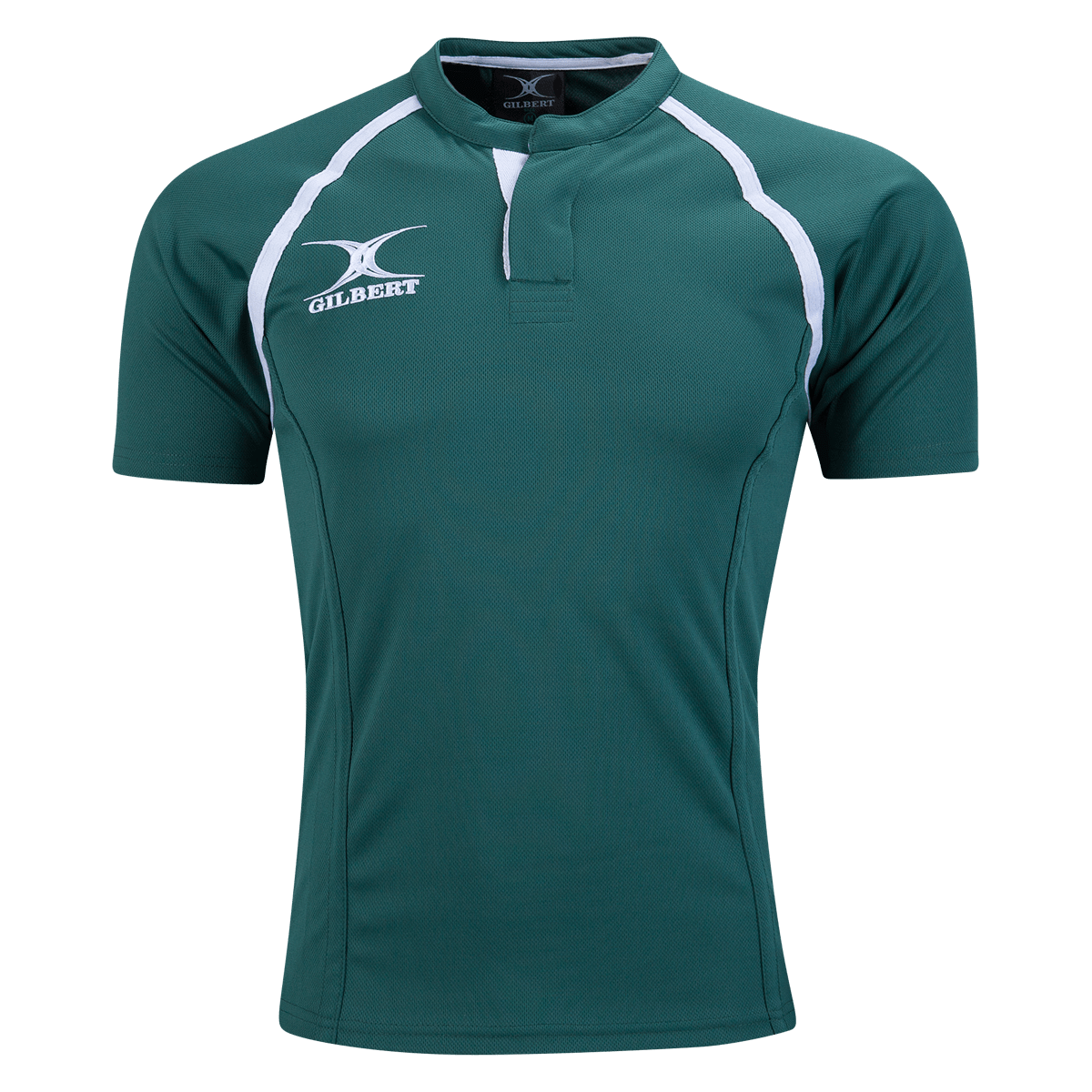 Gilbert Dark Green Xact Premier Rugby Jersey Front With White Logo