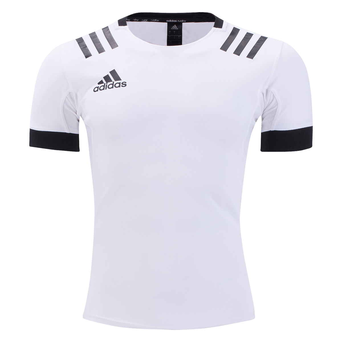 White Rugby Jersey With Black Adidas Logo, Stripes & Elastic on Sleeves