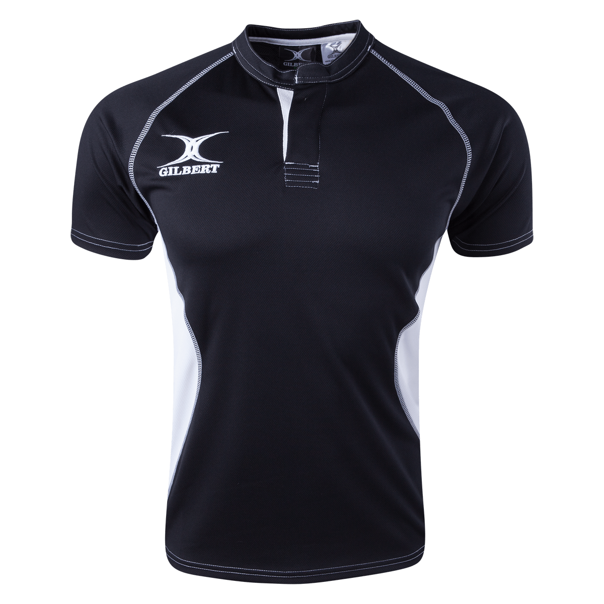 Black Gilbert Youth Xact V2 Rugby Jersey With White Text and Logos