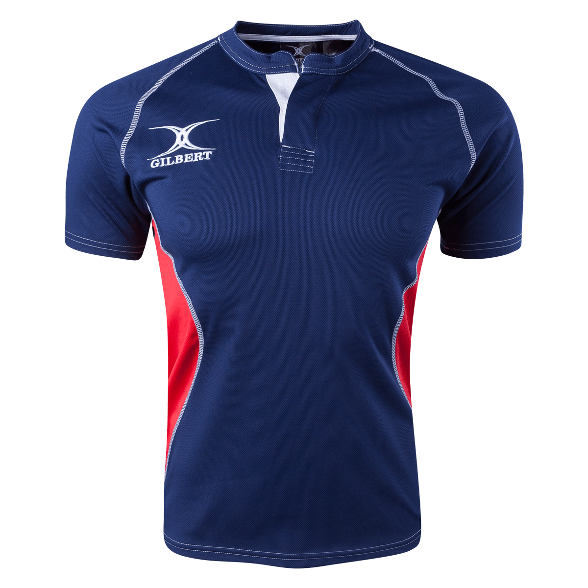 Gilbert Navy/Red Xact V2 Youth Jersey Front With White Gilbert Logo