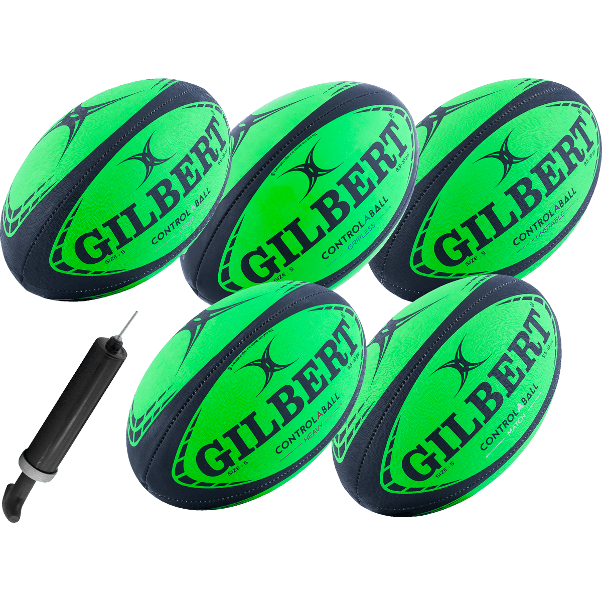 Gilbert Control-A-Ball Rugby Pack 5 Balls and Pump