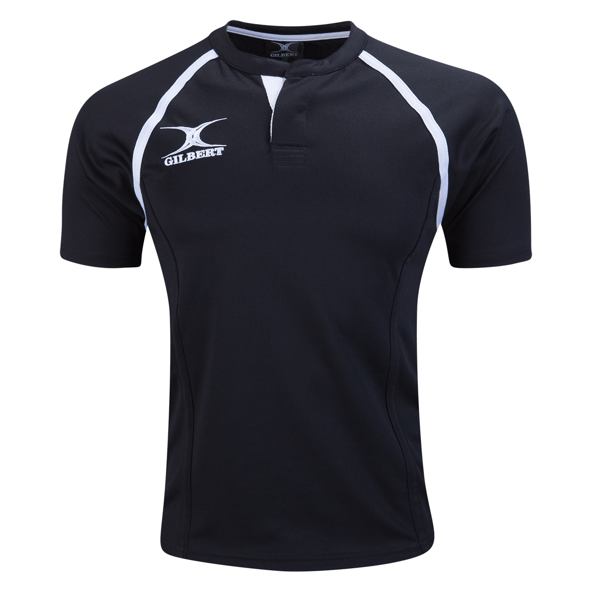 Gilbert Black Xact Premier Rugby Jersey With White Gilbert Logo
