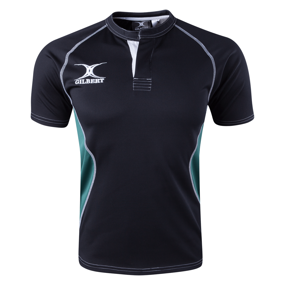 Gilbert Black/Green Xact V2 Jersey Front With White Gilbert Logo