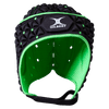 Front View Black Gilbert Ignite Scrum Cap With White Logo Green Interior
