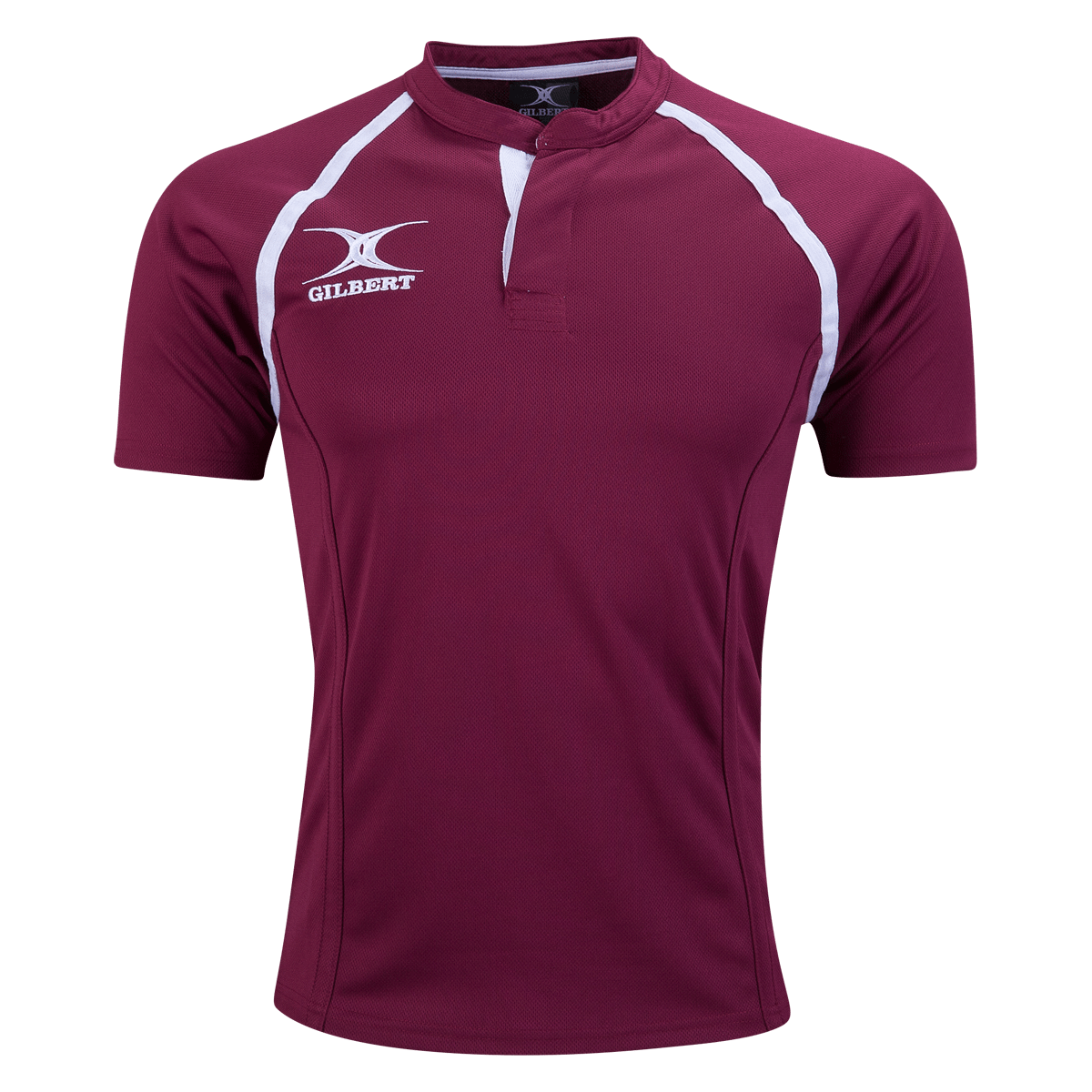 Gilbert Maroon Xact Premier Rugby Jersey With White Logo