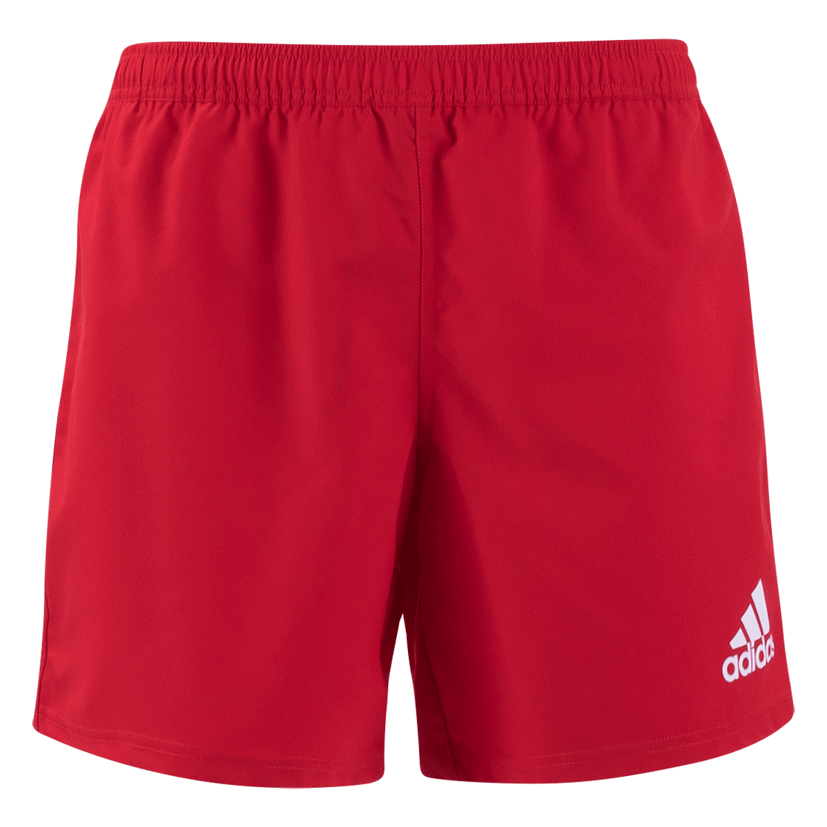Adidas 19 Red/White 3 Stripe Rugby Shorts Front View