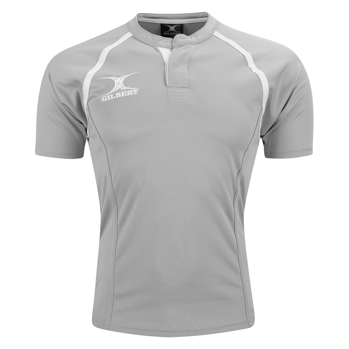 Gilbert Grey Xact Premier Rugby Jersey With Logo on Right Chest