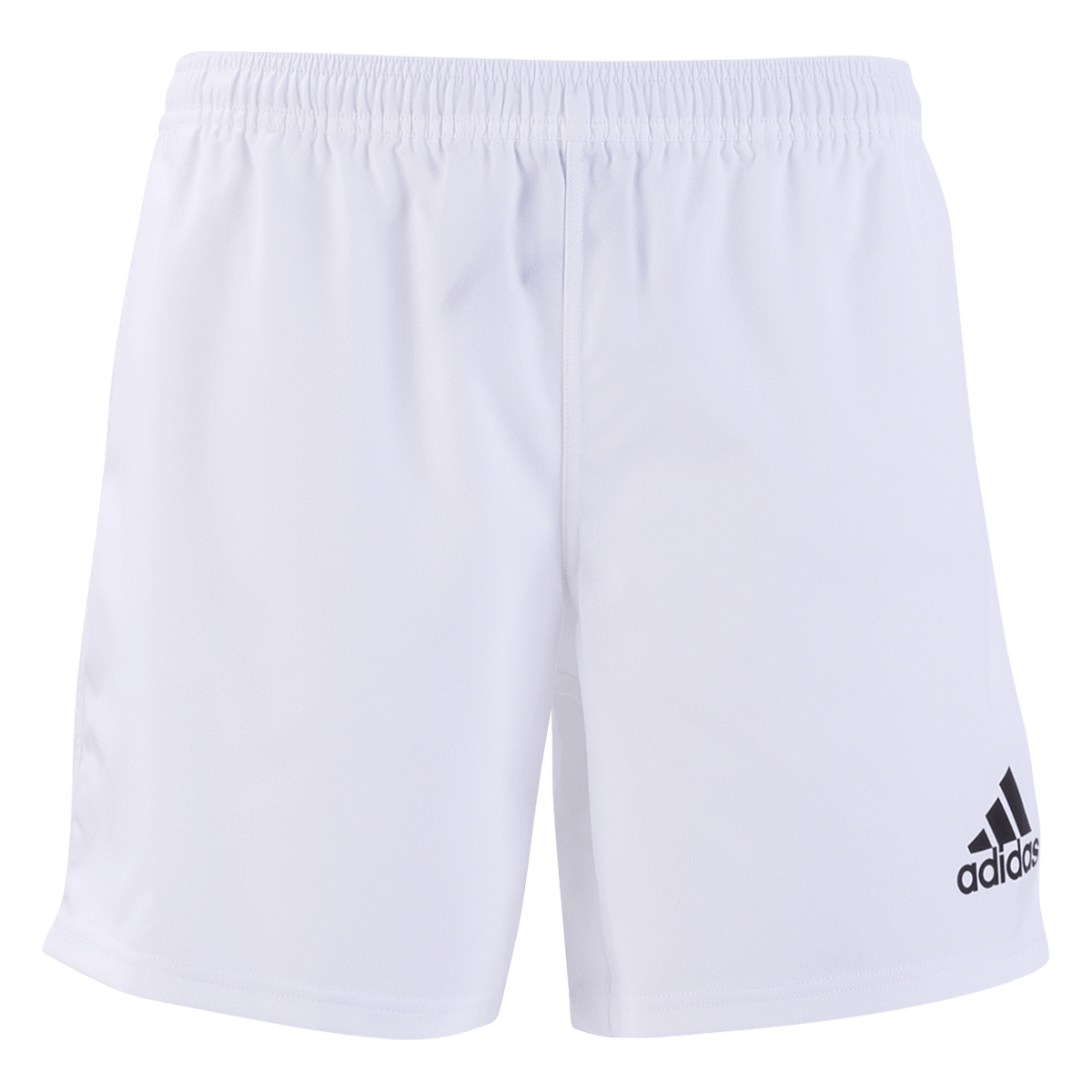 Adidas 19 White/Black 3 Stripe Rugby Shorts Front View