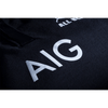 Close up of White AIG Logo on Black Jersey