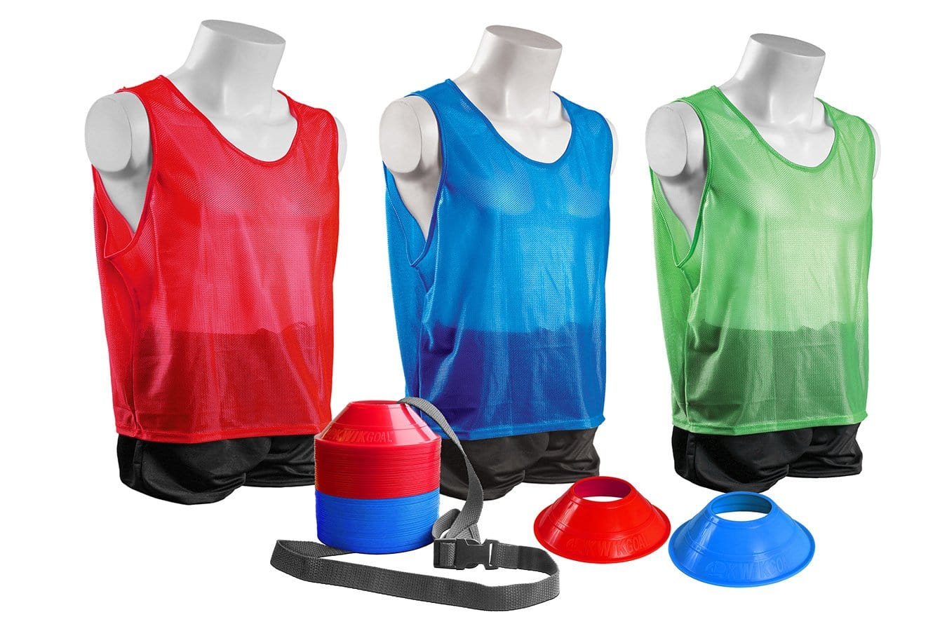 Sample of 1 Youth Red, blue & Green Vest and Red & Blue Disc Cones