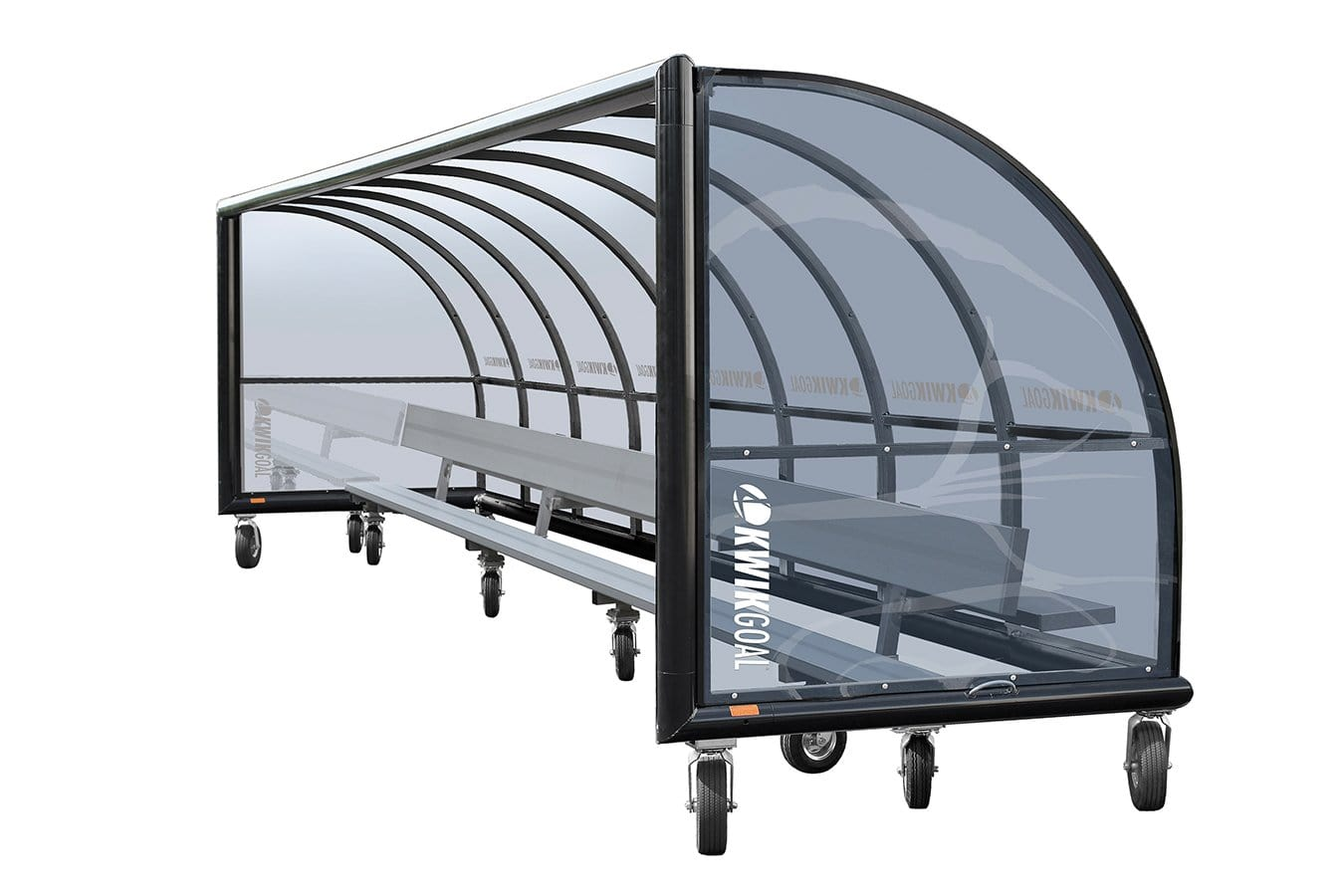 Grey-tinted Polycarbonate Shelter & Bench With Wheels