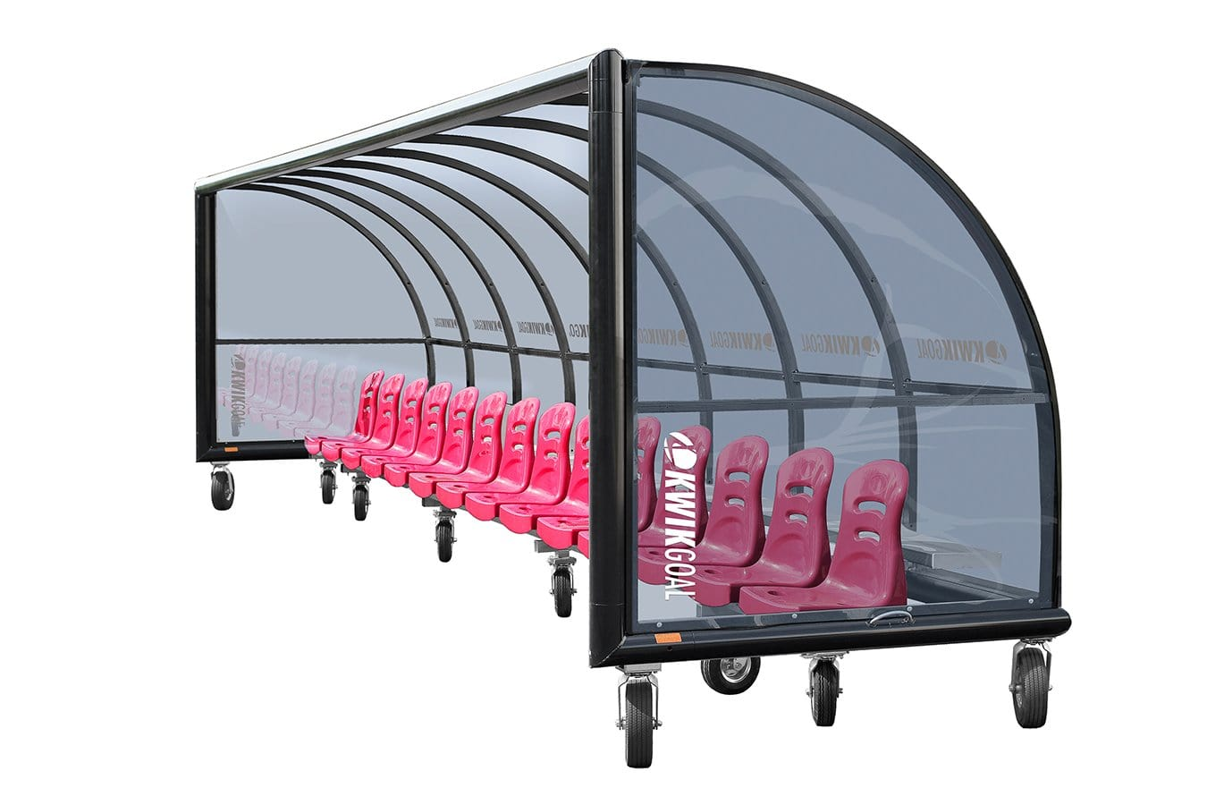Grey-tinted Polycarbonate Shelter & Molded Seats With Wheels