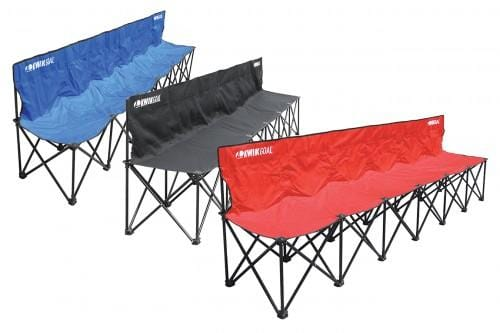 Blue, Black & Red 6-Seat Rugby Benches Side by Side