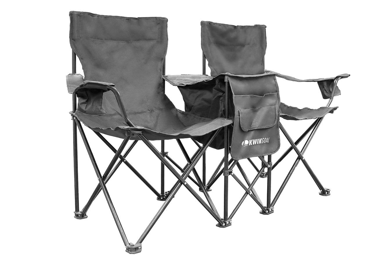 Double Rugby Sideline Chair Black Woven Seats With Collapsible Steel Frame