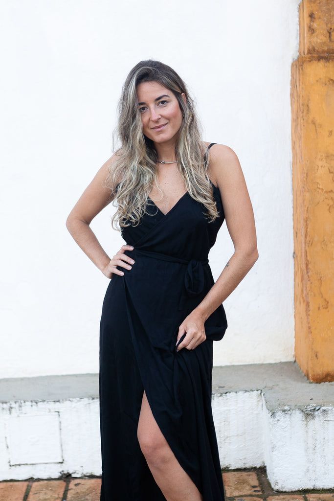 Vestido Longo Envelope Viscose - Black